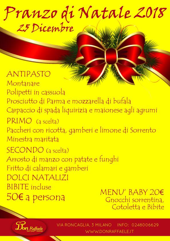 Cena Di Natale Menu Tradizionale.Menu Pranzo Di Natale 2018 Don Raffaele Trattoria Pizzeria A Milano
