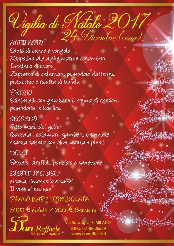 Menu Cenone Di Natale.Menu Cena Vigilia Di Natale 2017 Don Raffaele Trattoria