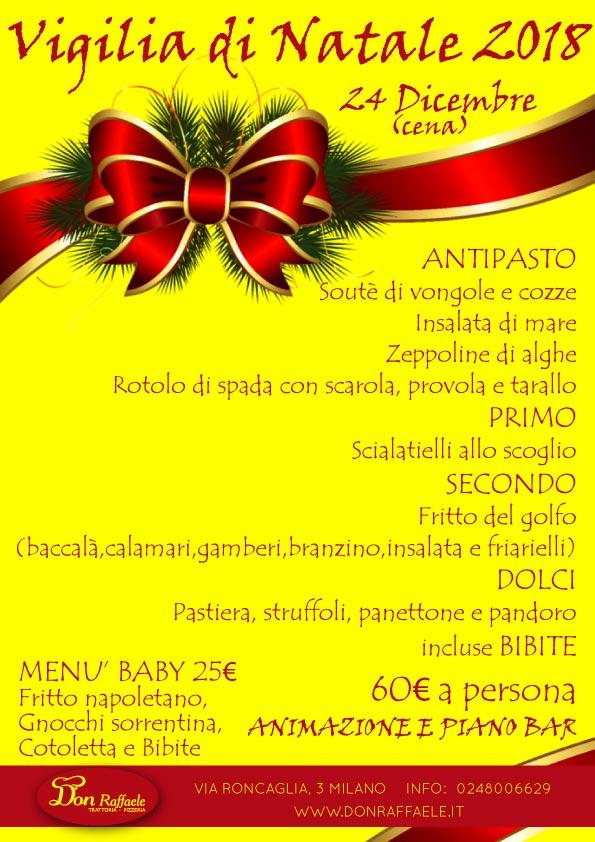 Menu Cenone Vigilia Di Natale.Menu Cena Vigilia Di Natale 2018 Don Raffaele Trattoria Pizzeria A Milano