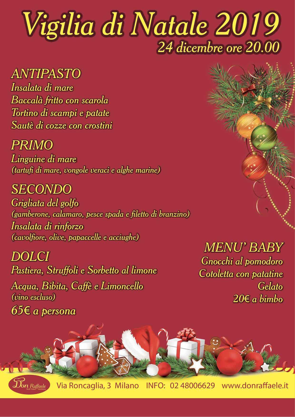 Menu Cenone Vigilia Di Natale.Menu Cena Vigilia Di Natale 2019 Don Raffaele Trattoria Pizzeria A Milano